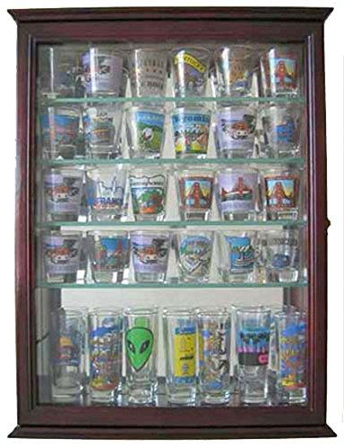 36 Shot Glass Display Case Wall Cabinet Holder Rack - Cherry Finish SCD06B-CH