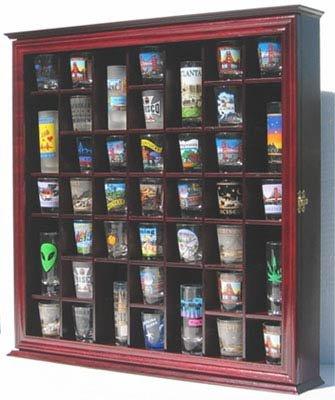 41 Shot Glass Display Case Cabinet Holder Rack Cherry Finish