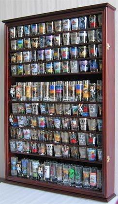 Large 144 Shot Glass Shooter Display Case Holder Wall Cabinet  UV Protection - MAHOGANY Finish