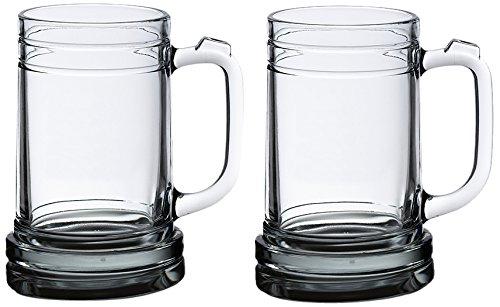 Lillian Rose Set of 2 Glass Beer Stein Mugs Table Decor