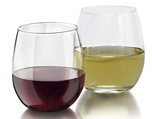 Stemless Wine Glass Set 8-Pack 15 Ounce Wine Tumbler Set Shatter- Resistant Glass - Elongated Design