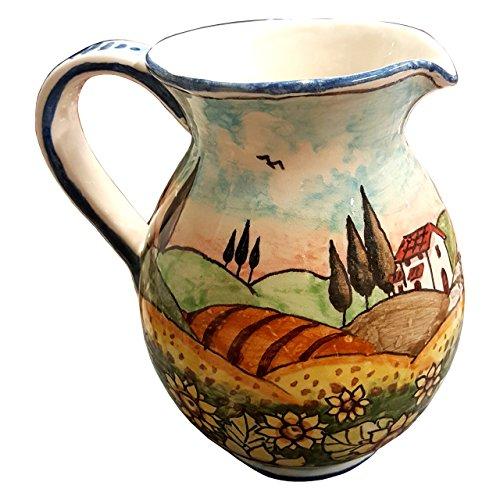 CERAMICHE DARTE PARRINI - Italian Ceramic Art Pottery Jar Pitcher Vino Vine 04 Gal Hand Painted Decorated Landscape Sunflowers Made in ITALY Tuscan