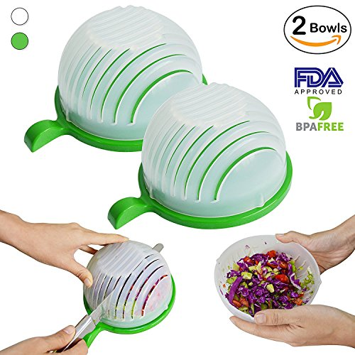 2-PACK White  Green Salad Cutter Bowl Set - 4 In 1 Multi-Functional- Make Your Salad in 60 Seconds with this Fast Easy To Use Salad Chopper Cutting Board Strainer Bowl