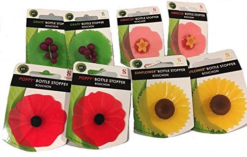 Charles Viancin Floral Bottle Stopper Hibiscus Sunflower Poppy Grape Set of 8 …