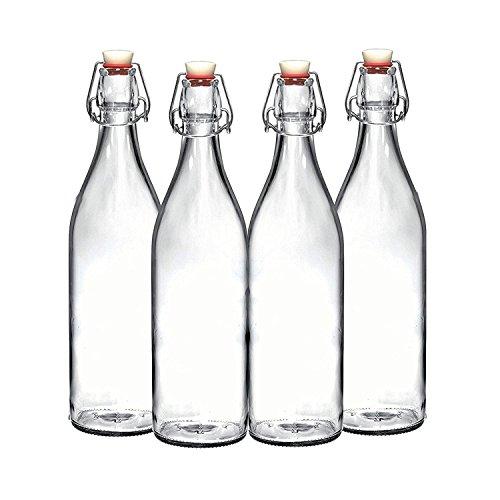 Set of 4 - 3375 Oz Giara Glass Bottle with Stopper Swing Top Bottles for Oil Vinegar Beverages Beer Water Kombucha Kefir Soda By California Home Goods
