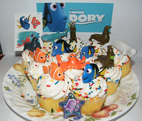 Disney Finding Dory Deluxe Mini Cake Toppers Cupcake Decorations Set of 14 with Figures a Sticker Sheet ToyRing Featuring Dory Nemo and Mnay More