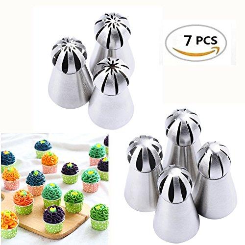 7PCS Russian Tulip Tips Vivian Flower Cake Icing Piping Nozzles Cake Cupcake Decorating Tips Kit Pastry DIY Baking ToolsRandom Style