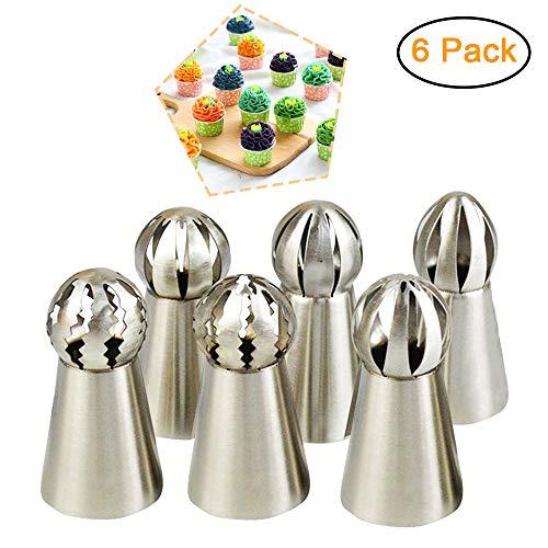 Russian Piping Tips Flower Cake Icing Piping Nozzles Ball DIY Baking Cake Rose Making Decorating Supplies Kits 6 pcs