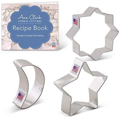 Ann Clark Cookie Cutters 3-Piece Islamic Ramadan Cookie Cutter Set with Recipe Booklet Islamic Star Star Moon