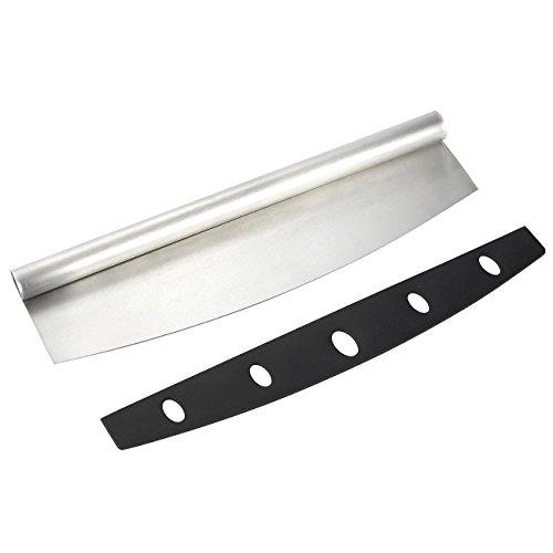 Pizza Cutter - Stainless Steel Pizza Rocker Blade - Mezzaluna Chopper 137 x 1 x 37 Inches