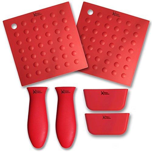 6 Piece Silicone Kitchen Set - Kitchen Addiction 2 Hot Handle Holders 2 TrivetPotholderGrippers 2 Assist Handles Set Red