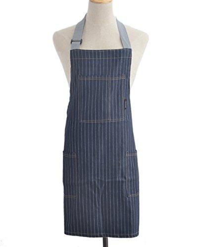 Adjustable Denim Jean Protective Work Bib Apron with Chest Pockets Fashionable and Practical for Women Men Unisex Restaurant Kitchen Cooking BBQ Gril Hairdressers Cobbler Blue Striped Denim