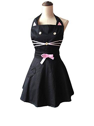 Cartoon Cat Cute Black Woman Kitchen Apron Cotton Waitress Salon Hairdresser Cooking Apron Dress Avental de Cozinha Divertido