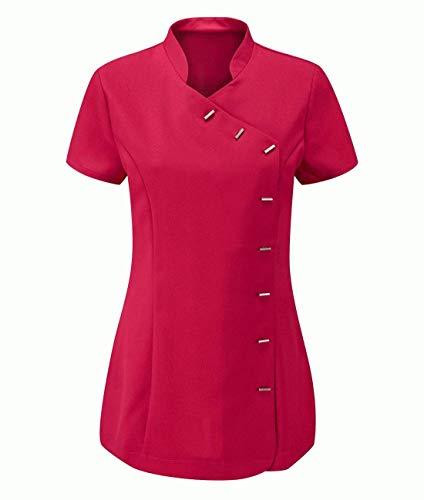 Hi Fashionz Womens Beauty Salon Tunic Shirt Ladies Fancy Hairdressing Uniform Tunic Top Hot Pink US 20