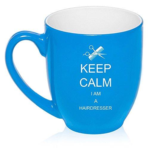 16 oz Large Bistro Mug Ceramic Coffee Tea Glass Cup Keep Calm I Am a Hairdresser Light Blue