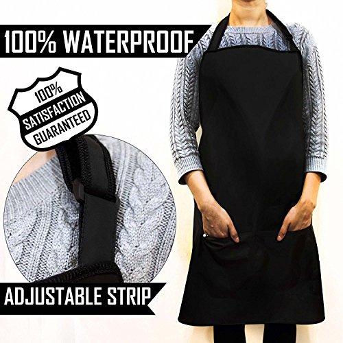 Waterproof Apron In Black One Size Fits All Unisex Work Wear BarberHairdresser