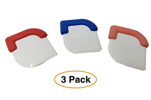 Premium Pan  Skillet Scraper Dish Pastry Cake Dough Scraper Tool 3 Pack Assorted Colors dough scraper pastry scraper
