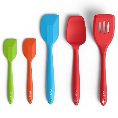 EXVI 5-Piece Flexible Silicone Spatula Silicone Spoon Set Heat Resistant Non-stick