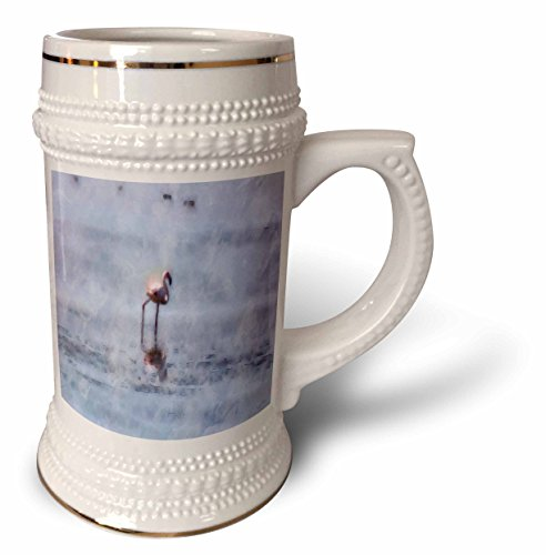 3dRose Taiche - Watercolor - Flamingo - Solitary Flamingo Watercolor - 22oz Stein Mug stn_269752_1