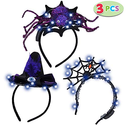 JOYIN 3 Pack LED Halloween Headbands for Halloween Party Supplies Includes Spider Spider Web Witch Hat