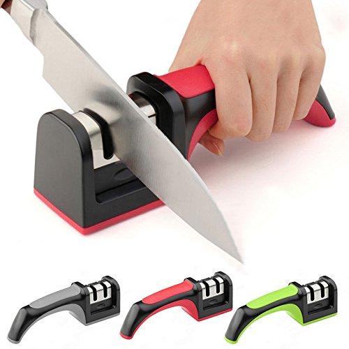 Kitchen Knife Sharpener Household Knife Sharpener 2 Stages Carbide Ceramic Sharpening Stone Handle New