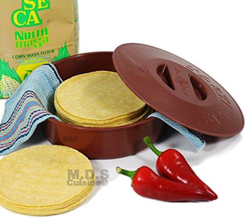 Tortilla Warmer 9 Inch Microwave Safe Tortilla Keeper w Lid Flat Breadpitaflourcorn Tortillas