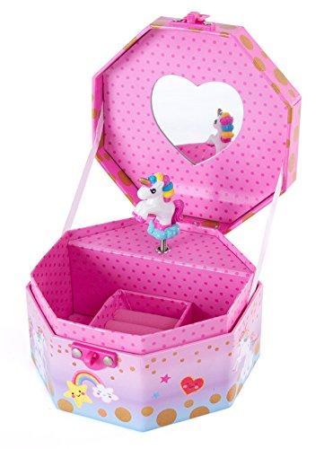 Hot Focus Musical Girls Jewelry Box - Rainbow Unicorn Music Jewel Storage Box - Plays Beethovens Für Elise