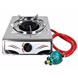 Bioexcel Portable 15000 BTU Single Burner Propane Gas Stove Stainless Steel Body - Perfect Single Gas Burner for Your Kitchen Outdoor Camping