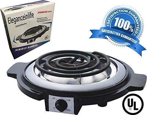 Eleganceinlife Single Burner Electric Hot Plate Black Single Counter Burner 1000 Watt Stainless Steel Body UL Approved
