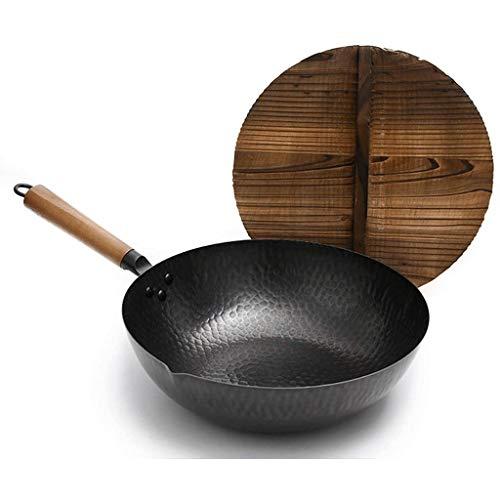 SHUUY Carbon Steel Hand Hammered Wok Scratch Resistant Cast Aluminum Wok Black Pre-Seasoned Cast Iron Wok Pan