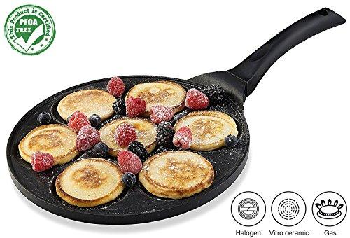 Gourmia GPA9510 Blini Pan Nonstick Silver Dollar Pancake Pan With 7-Mold Design 100 PFOA free non-stick coating