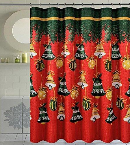Seasons Greetings 16 Piece Shower Curtain Bath Set 3 Piece Polypropylene Bath rug 1 Waffle Fabric shower curtain 12 pc Crystal metal roller hooks 16Pc E Christmas Jingle Bells