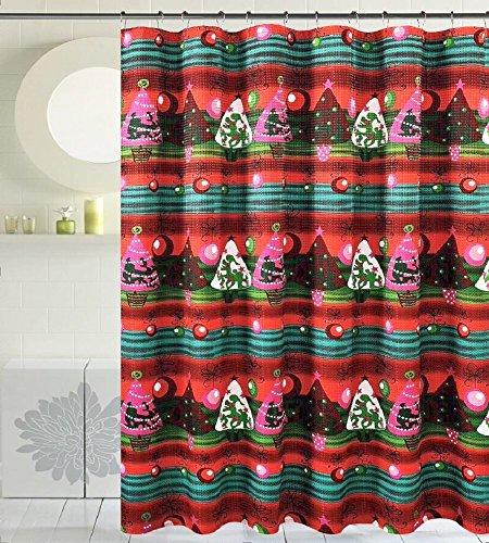 Seasons Greetings 16 Piece Shower Curtain Bath Set 3 Piece Polypropylene Bath rug 1 Waffle Fabric shower curtain 12 pc Crystal metal roller hooks 16Pc E Christmas Tree