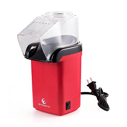 EverKing Popcorn Popper Air Household Air Popped Popcorn Maker Electric Air Popper Popcorn Machine Mini Red 1200Watt Red - A