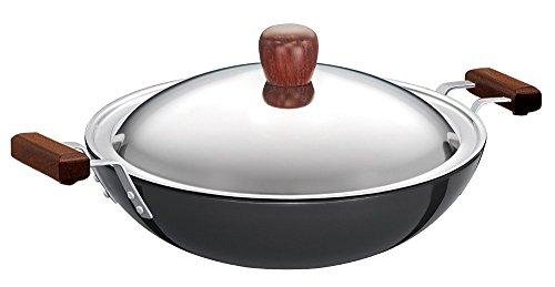 Futura Hard Anodised Deep-fry Pan(kadhai) 3-3/4 Litre With Steel Lid And Flat Bottom