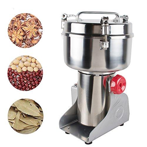 Genmine Electric Grain Mill Kitchen Herb Spice Pepper Coffee Powder Grinder 1000g Household Herbal Cereal Medicine Pulverizer Milling Machine Stainless Steel