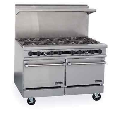 "Therma-Tek TMDS48-8-2 Gas Restaurant Range 48"" - Eight open burners two 20"" space-saver ovens"