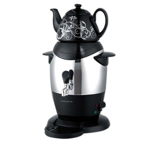 Ovente S21B Stainless Steel Samovar Tea Maker with Ceramic Teapot Black