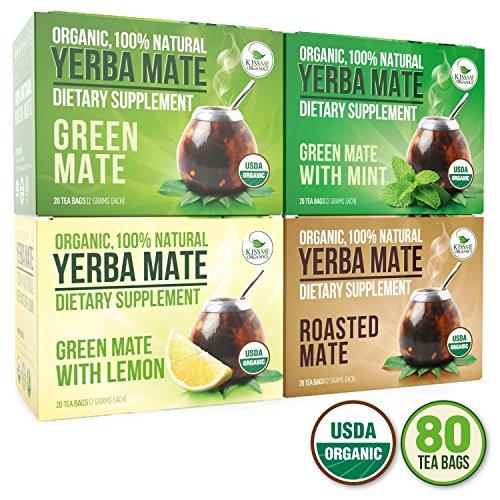 Organic Yerba Mate Tea Bags - Variety Pack - Mate Cocido - Natural Detoxifier and Fat Burner - 80 Tea Bags - 20 of Each Flavor 2 grams each Kiss Me Organics