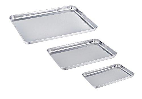 TeamFar Baking Sheet Set of 3 Stainless Steel Cookie Sheet Baking Tray Pan Healthy Non Toxic Mirror Finish Rust Free Easy Clean Dishwasher Safe