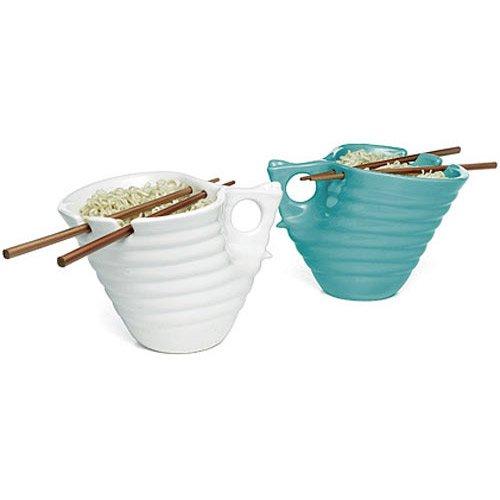 Buddha Bowl Original Udon Noodle Ramen Bowl Ceramic Chopsticks Big Mug Tofu - White