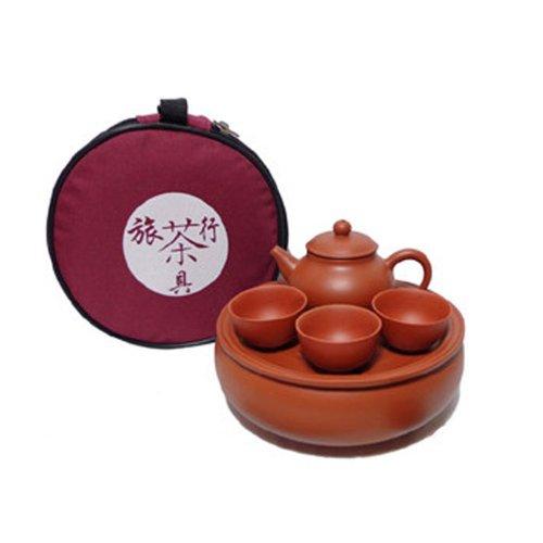 Purple Clay Travel Teaset Portable Travel Kungfu Tea Set 1 Tea Tray 1 Teapot 3 Cups
