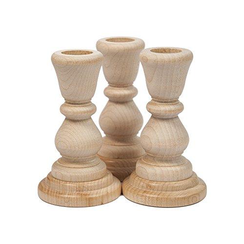 "Unfinished Candlesticks 4 Inch, Unfinished Wood Candlesticks 4"" - Bag Of 3"