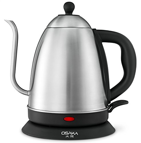 Osaka 15 Liter Electric Quick Boil Gooseneck Water Kettle for Drip Coffee – Accurate Flow Control And Fully Stainless Steel Interior Tea Kettle - Perfect For Manually Brewed Pour Over Coffee and Tea