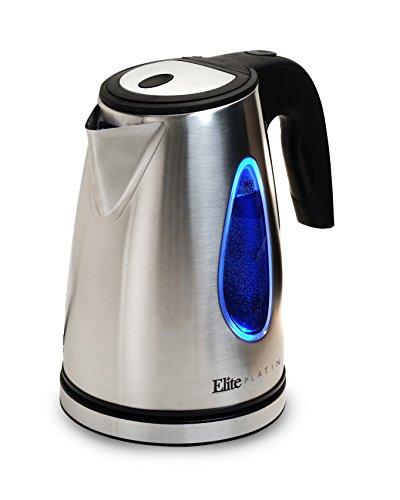 Elite Platinum EKT-1330 17-Liter Cordless Electric Water Tea Kettle Stainless Steel BPA Free