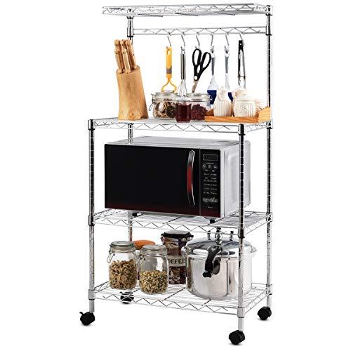Giantex 4-Tier Bakers Rack Microwave Rack Free Standing Storage Shelf Microwave Oven Stand Kitchen Cart Storage Organizer Shelf Workstation wAdjustable Shelf and 6 Hooks