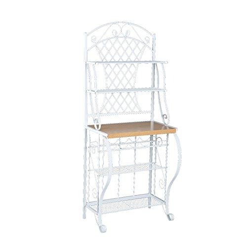 Trellis Bakers Rack w Scroll Work - White Metal Frame Oak Finish Shelf - Chic Design