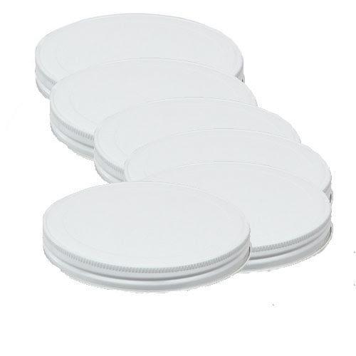 Paksh Novelty 6 White Metal Lids for Paksh Novelty 1 Gallon Jar