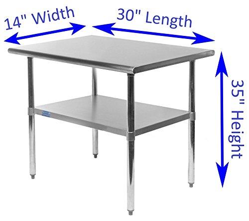 WORK TABLE FOOD PREP WORKTABLE RESTAURANT SUPPLY STAINLESS STEEL 14 X 30