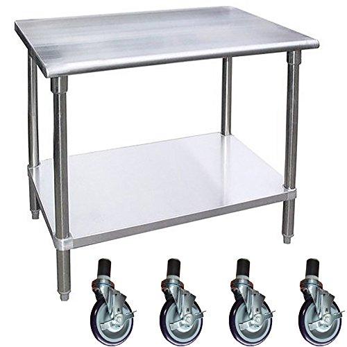 Work Table with 4 Casters Wheels Stainless Steel Food Prep Worktable 18 x 60 60 Long x 18 Deep  4 Wheels